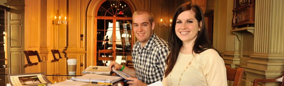 Undergraduate students study in Humanities Center