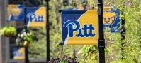 Pitt flags on Pittsburgh campus