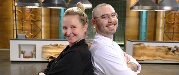 chef Stephanie Cmar and Brett Bankson