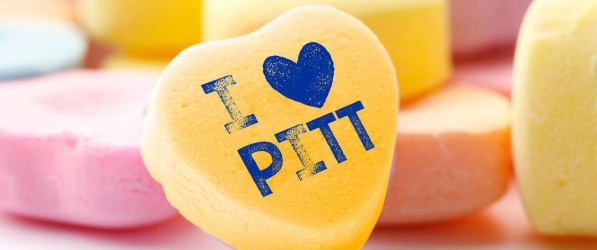 Valentine candy heart with I love Pitt on it