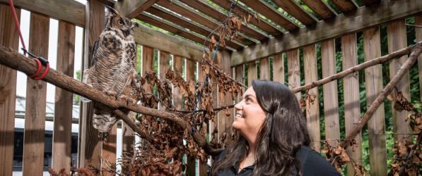 Katie Kefalos with owl
